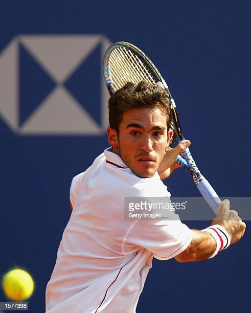 Alberto Martin of Spain plays a backhand during his third round match against Albert Costa of Spain during the ATP Tennis Masters Series Monte Carlo...