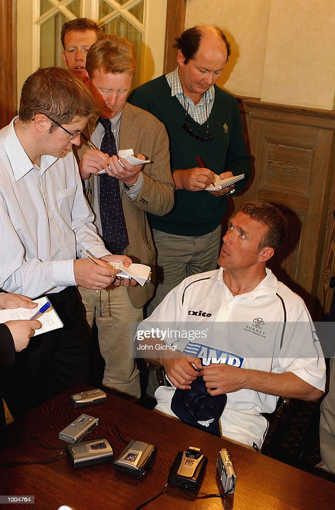 Alec Stewart meets the media during the Surrey photocall at the Oval. DIGITAL IMAGE Mandatory Credit: John Gichigi/Getty Images