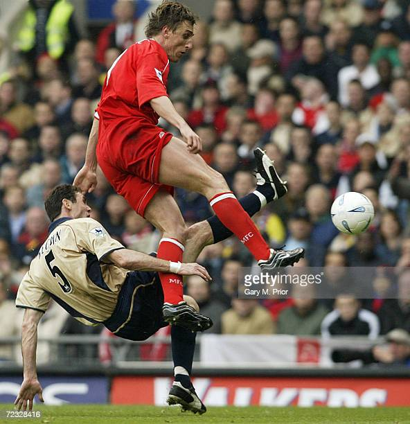 Alen Boksic of Middlesbrough is challenged by Martin Keown of Arsenal during the AXA sponsored FA Cup Semifinal match between Middlesbrough and...