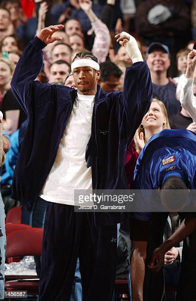 Allen Iverson of the Philadelphia 76ers likes what he sees from his teammates against the Milwaukee Bucks at the First Union Centerin Philadelphia...