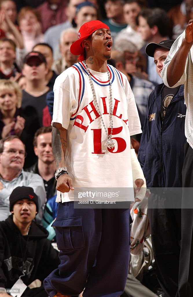 03 Apr 2002:  Allen Iverson of the Philadelphia 76ers wearing the Jersey of former 76er legend Hal G : News Photo