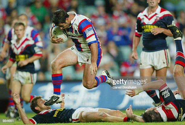 Andrew Johns of the Knights on his way to score a try during the NRL fifth round match between the Sydney Roosters v Newcastle Knights played at...