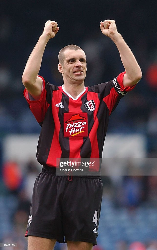 Andy Melville of Fulham celebrates after the match during the Leeds United v Fulham Barclaycard Premiership match played at Elland Road, Leeds. DIGITAL IMAGE Mandatory Credit: Shaun Botterill/Getty Images
