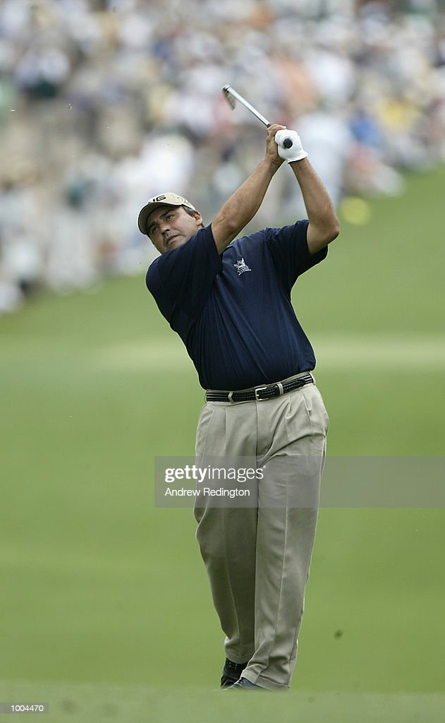 Angel Cabrera of Argentina plays his second shot on the first hole during the final round of the Masters Tournament from the Augusta National Golf Club in Augusta, Georgia. DIGITAL IMAGE. EDITORIAL USE ONLY Mandatory Credit: Andrew Redington/Getty Images