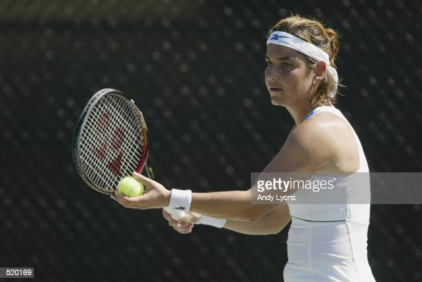 Arantxa SanchezVicario of Spain in action against Anastasia Myskina of Russia during the Family Circle Cup at Family Circle Magazine Stadium in...
