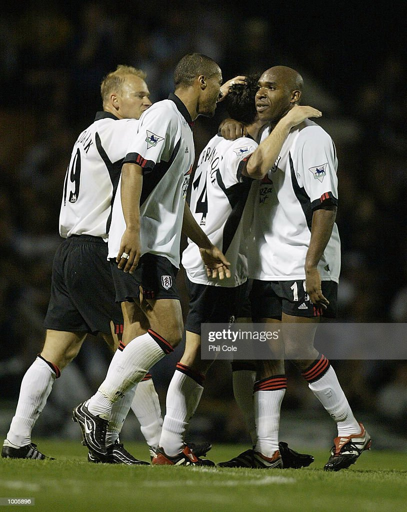 Barry Hayles of Fulham celebrates scoring the 3rd goal during the FA Barclaycard Premiership match between Fulham and Bolton Wanderers at Craven Cottage, London. DIGITAL IMAGE Mandatory Credit: Phil Cole/Getty Images