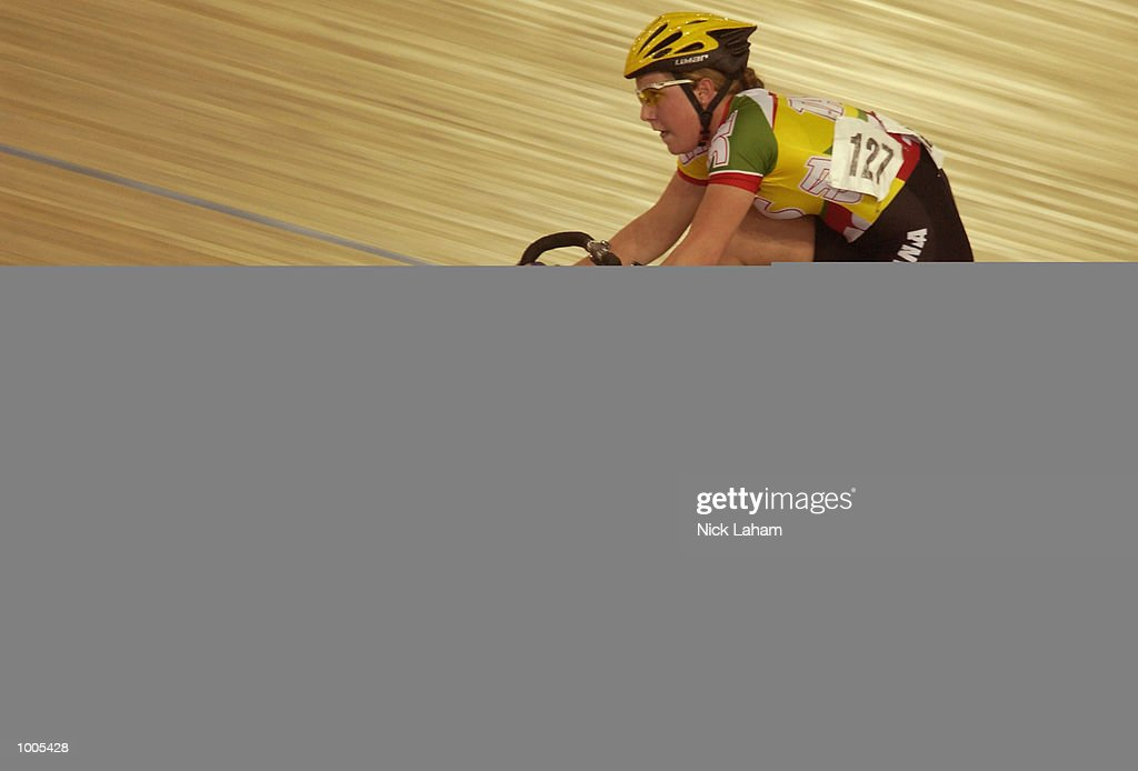 Belinda Goss of Tasmania on her way to winning the U19 Womens 10k Race during the National Track Championships held at the Dunc Gray Velodrome, Sydney, Australia. Mandatory Credit: Nick Laham/Getty Images