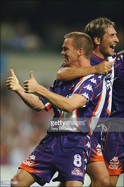 Brad Maloney for Glory celebrates a goal kicked by Bobby Despotovski for the Glory during the major semifinal first leg between Perth Glory v...