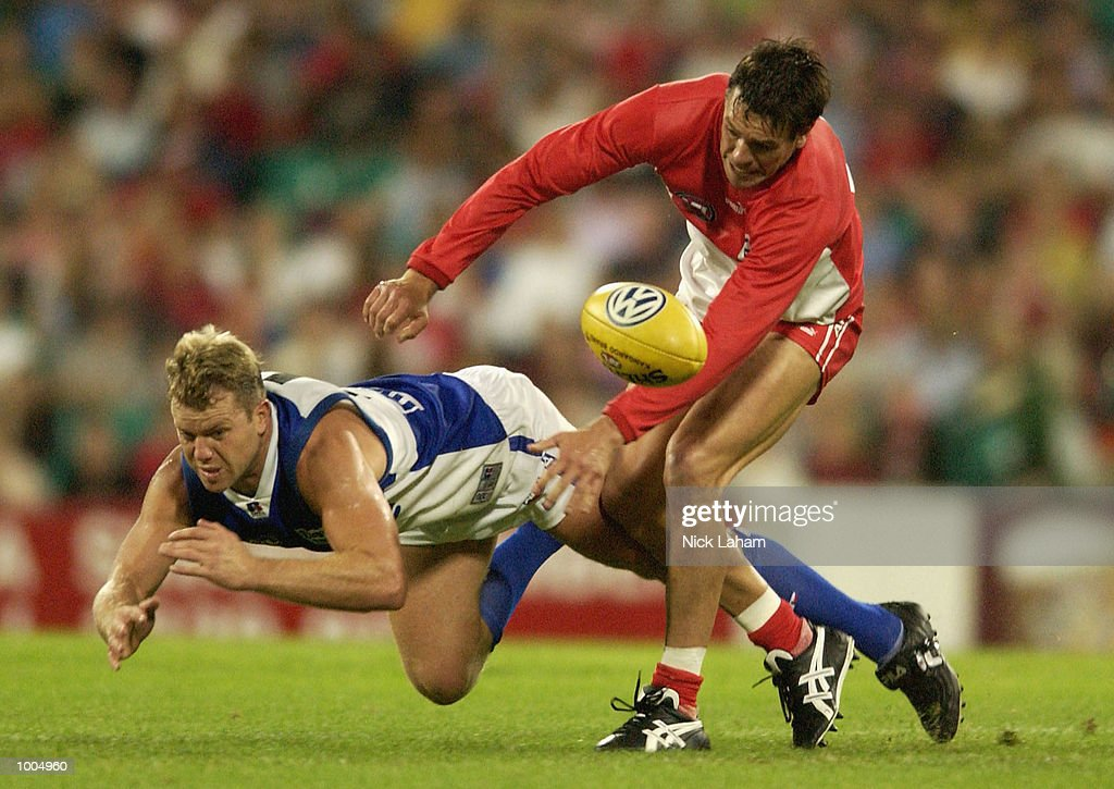 Brad Seymour of the Swans and Glenn Archer of the Kangaroos in action during the AFL match between the Sydney Swans and the Kangaroos held at the Sydney Cricket Ground, Sydney, Australia. Mandatory Credit: Nick Laham/Getty Images
