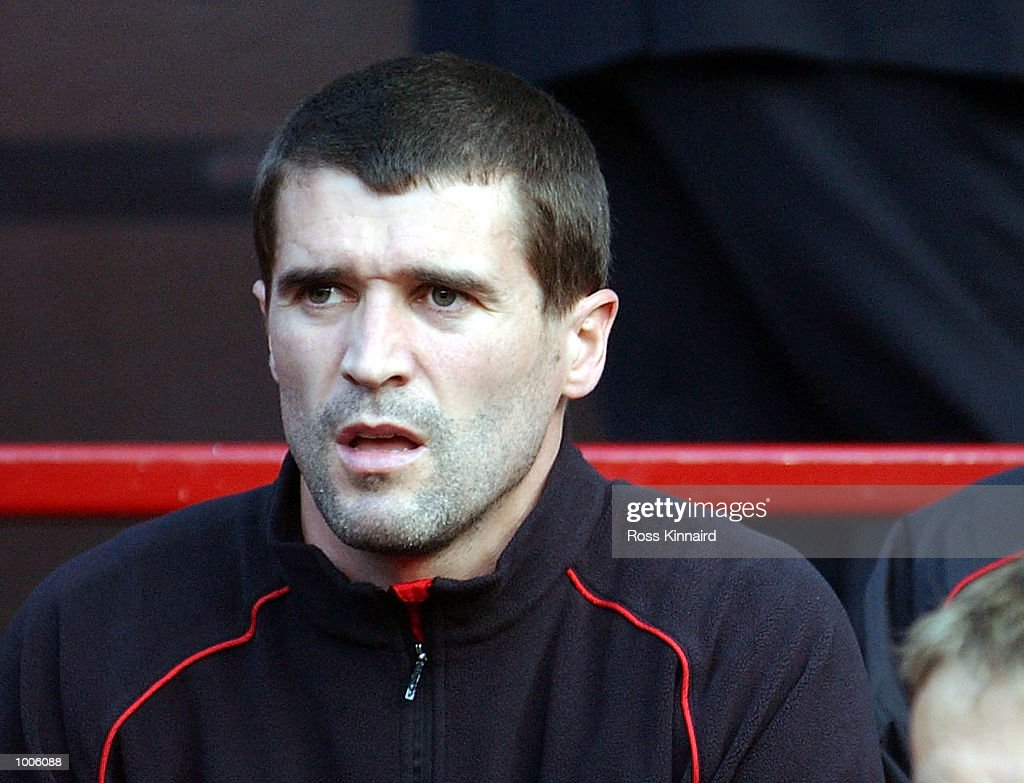 Captain Roy Keane watches from the bench during the Manchester United v Bayer Leverkusen UEFA Champions League Semi Final, First Leg match from Old Trafford, Manchester. DIGITAL IMAGE Mandatory Credit: Ross Kinnaird/Getty Images