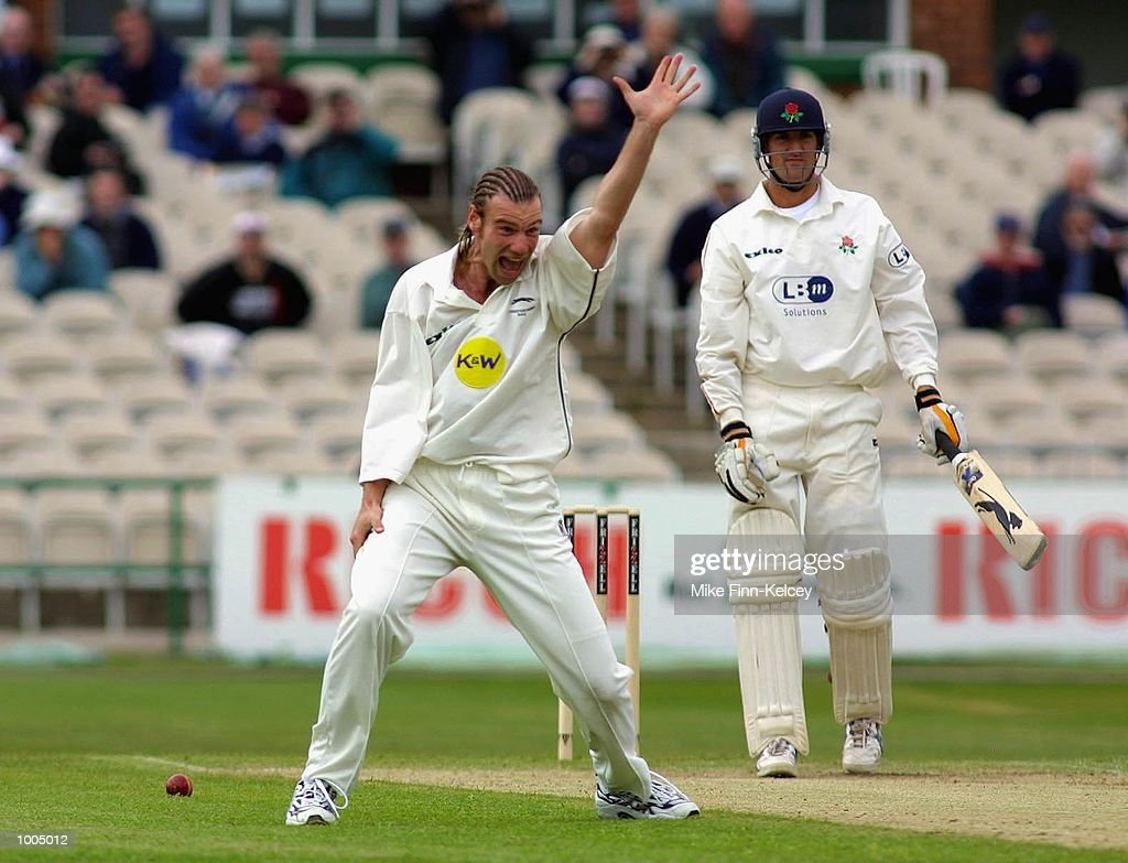 Charles Dagnall of Leicestershire appeals for the wicket of Mark Chilton of Lancashire during the Frizzell County Championship match between Lancashire ans Leicestershire at Old Trafford, Manchester. DIGITAL IMAGE Mandatory Credit: Mike Finn Kelcey/Getty Images