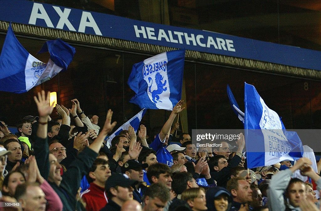 Chelsea fans celebrate their win during the Axa FA Cup Semi Final match between Chelsea and Fulham at Villa Park, Birmingham. DIGITAL IMAGE. Mandatory Credit: Ben Radford/Getty Images