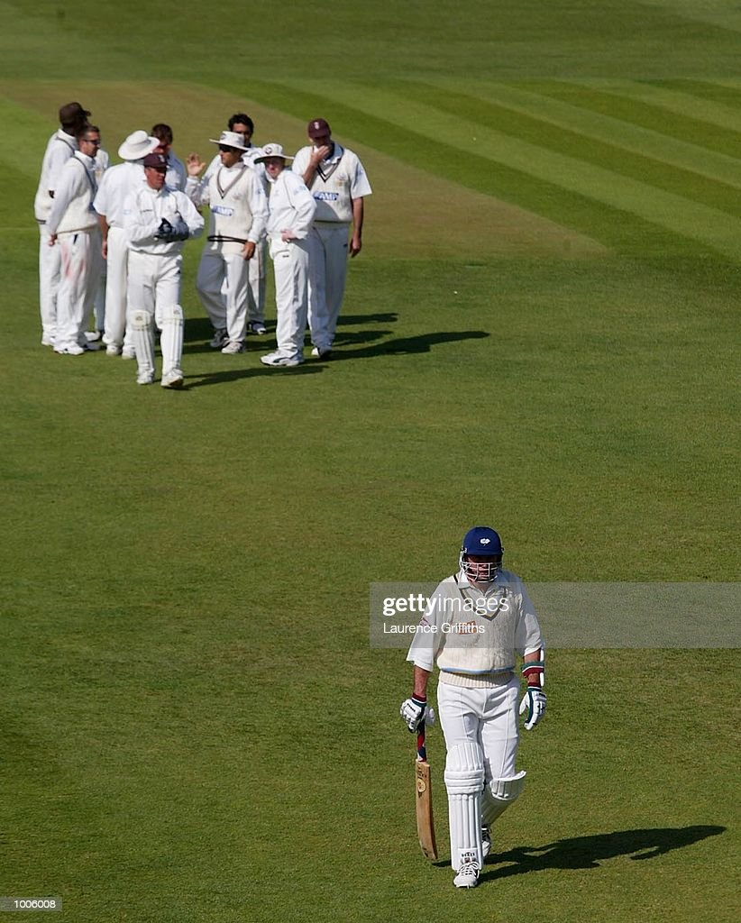 Chris Silverwood of Yorkshire takes the long walk back to the pavilion after being caught behind off the bowling of Azhar Mahmood of Surrey during the Frizzell County Championship game between Yorkshire and Surrey at Headingley, Leeds. DIGITAL IMAGE Mandatory Credit: Laurence Griffiths/Getty Images