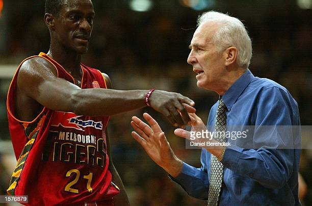 Coach of the Tigers Lindsay Gaze tries to pacify player Lanard Copeland during the NBL Semifinal decider between the West Sydney Razorbacks v...