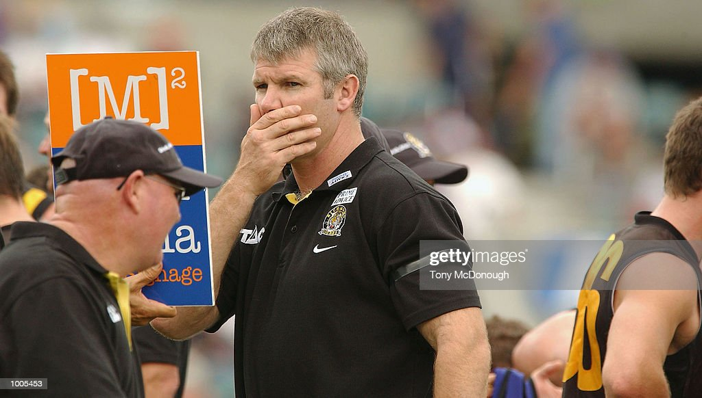 Danny Frawley coach for Richmond during the AFL match between the Fremantle Dockers 138 points and the Richmond Tigers 72 points, played at the Subiaco Oval, Western Australia. DIGITAL IMAGE Mandatory Credit: Tony McDonough/Getty Images