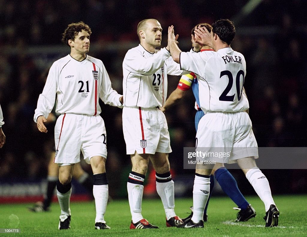 Danny Murphy of England celebrates scoring with his team mates during the Nationwide friendly match between England and Paraguay at Anfield, Liverpool. Mandatory Credit: Michael Steele/Getty Images