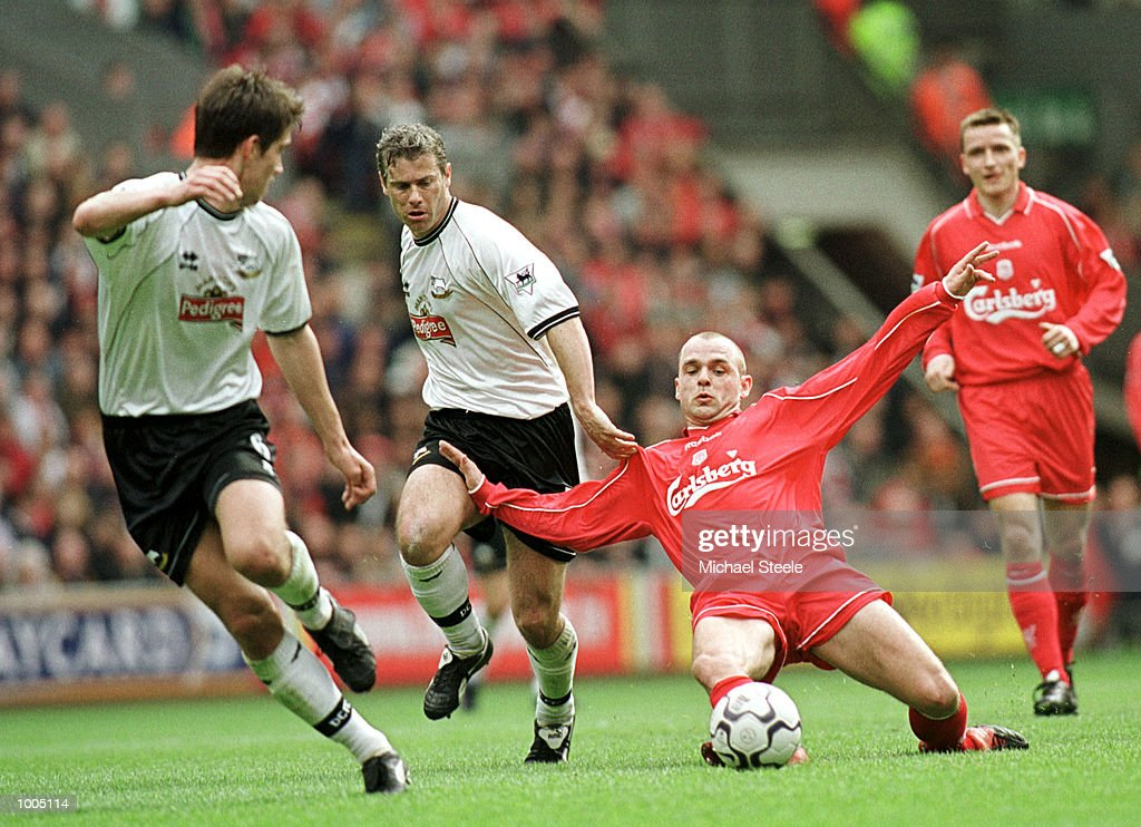 Danny Murphy of Liverpool battles with Robert Lee of Derby during the Liverpool v Derby County FA Barclaycard Premeirship match at Anfield, Liverpool. Mandatory Credit: Michael Steele/Getty Images