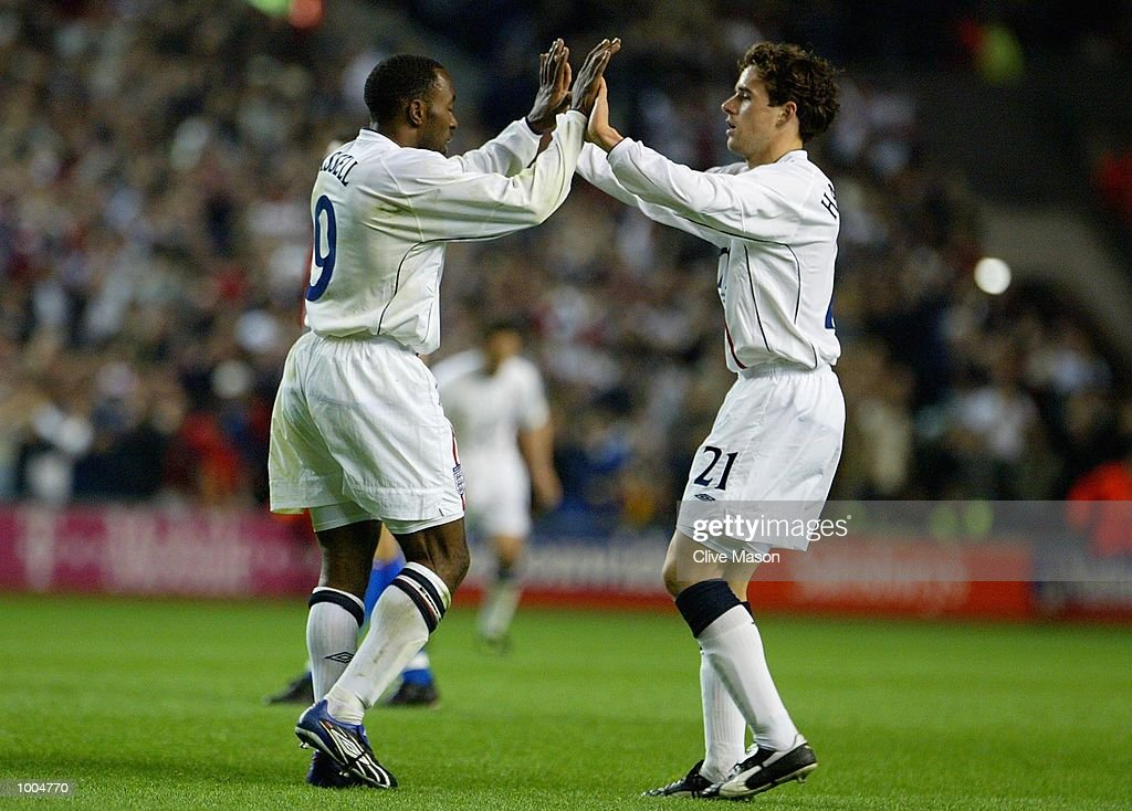 Darius Vassell of England celebrates scoring the third goal during the Nationwide friendly match between England and Paraguay at Anfield, Liverpool. DIGITAL IMAGE. Mandatory Credit: Clive Mason/Getty Images
