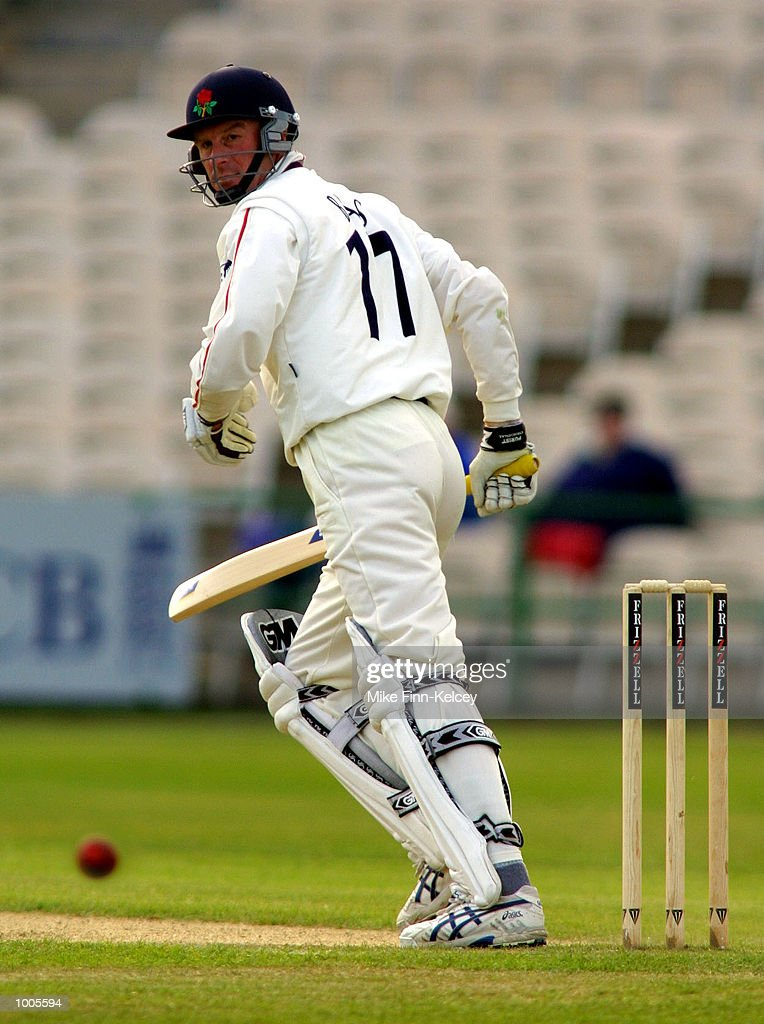 David Byas of Lancashire in action against Leicestershire in the Frizzell County Championship match at Old Trafford, Manchester. DIGITAL IMAGE Mandatory Credit: Mike Finn Kelcey/Getty Images