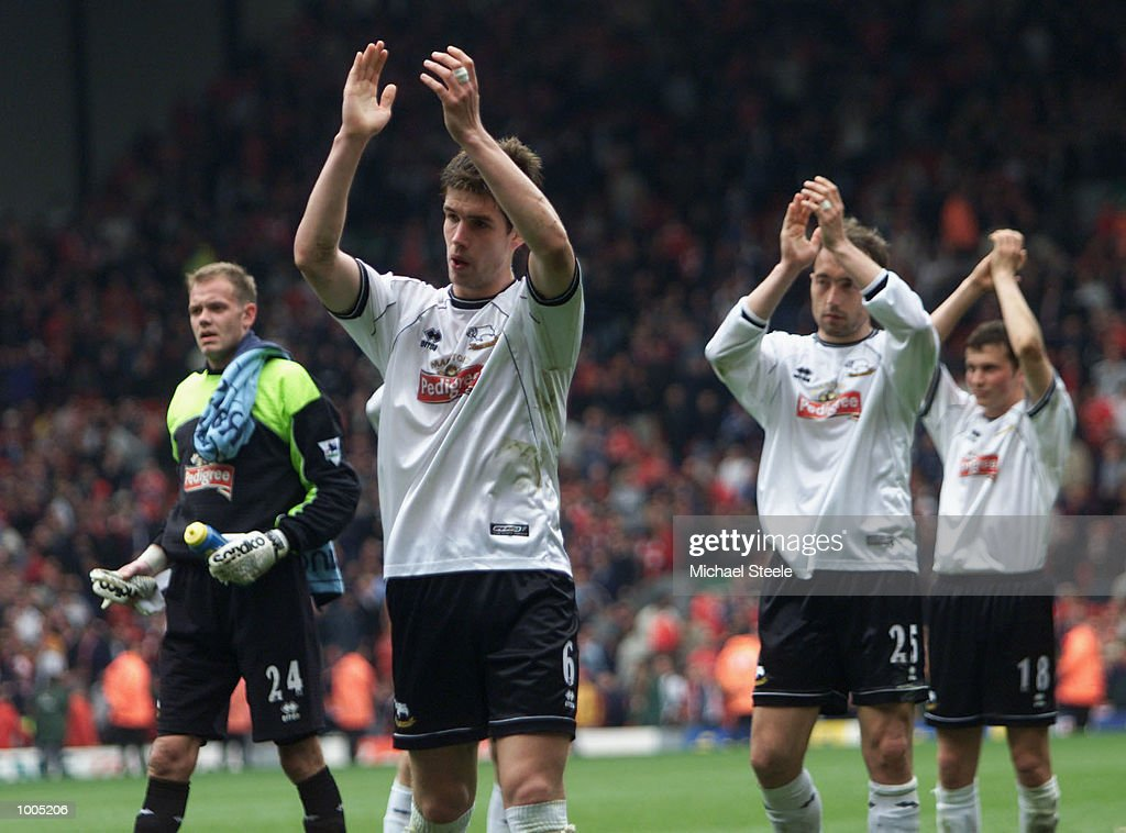 Dejected Derby players salute the fans after the Liverpool v Derby County FA Barclaycard Premeirship match at Anfield, Liverpool. DIGITAL IMAGE Mandatory Credit: Michael Steele/Getty Images