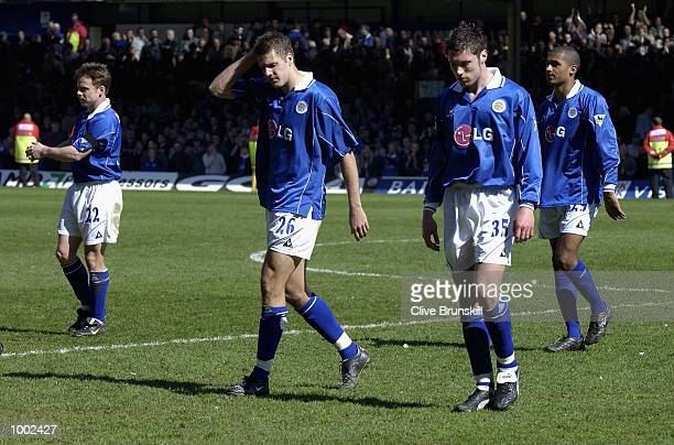 Dejected Leicester players leave the pitch after the Leicester City v Manchester United FA Barclaycard Premiership match at Filbert Street Leicester...