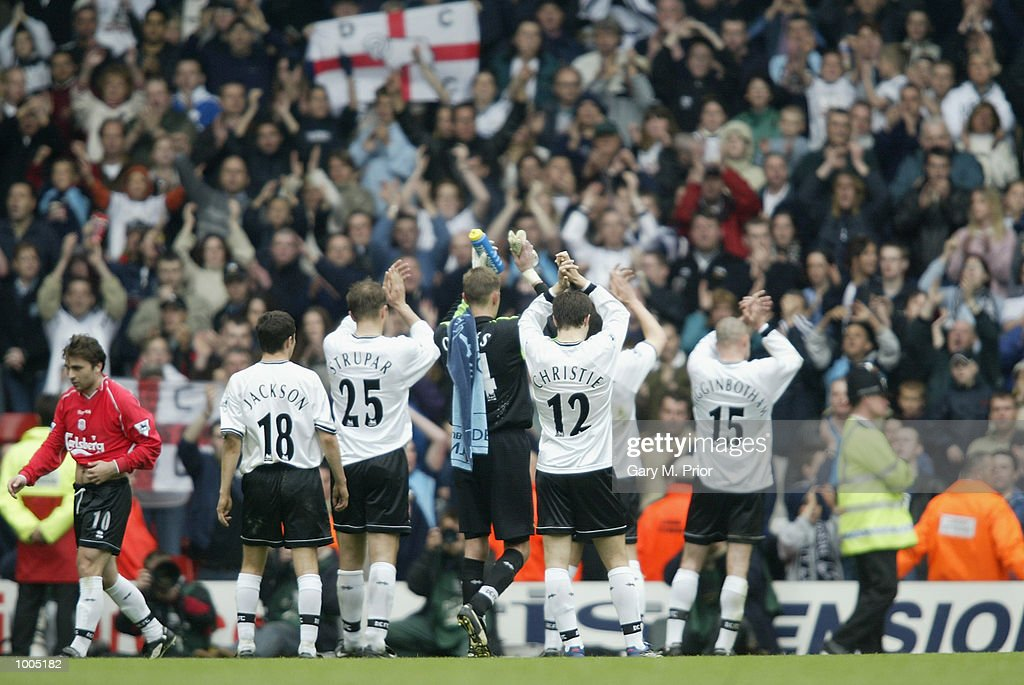 Derby players salute their fans after being relegated after the Liverpool v Derby County FA Barclaycard Premeirship match at Anfield, Liverpool. DIGITAL IMAGE Mandatory Credit: Gary M. Prior/Getty Images