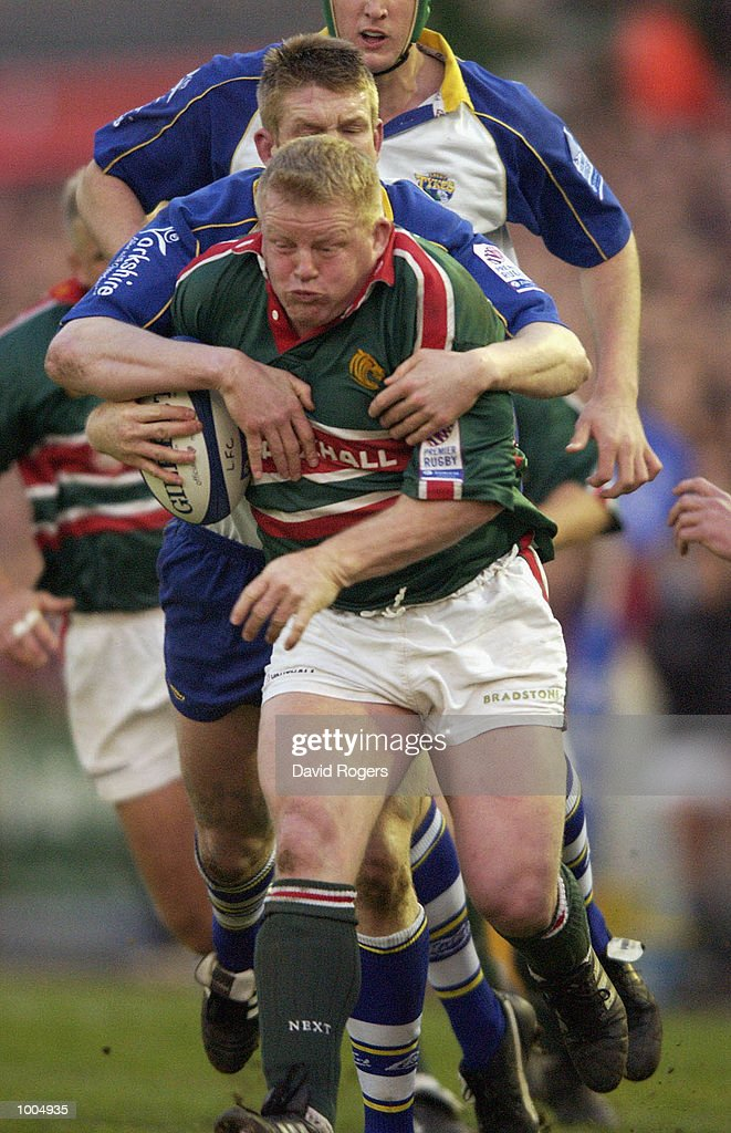 Dorian West the Leicester hooker is tackled during the Zurich Premiership match between Leicester Tigers and Leeds Tykes at Welford Road, Leicester. DIGITAL IMAGE Mandatory Credit: Dave Rogers/Getty Images