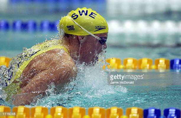 Emma Igelstrom of Sweden on her way to Gold in the 100m breaststroke during the FINA World Swimming Championships at the Olympiisky Swimming Pool...
