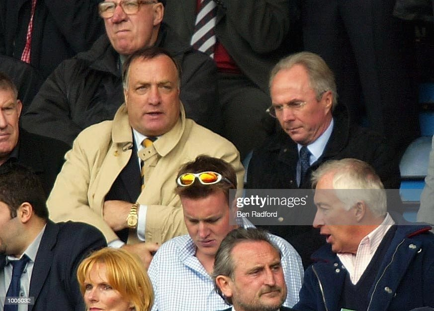 England Manager Sven-Goran Eriksson (right) with Dick Advocaat during the FA Barclaycard Premiership match between Chelsea and Manchester United at Stamford Bridge, London. DIGITAL IMAGE Mandatory Credit: Ben Radford/Getty Images