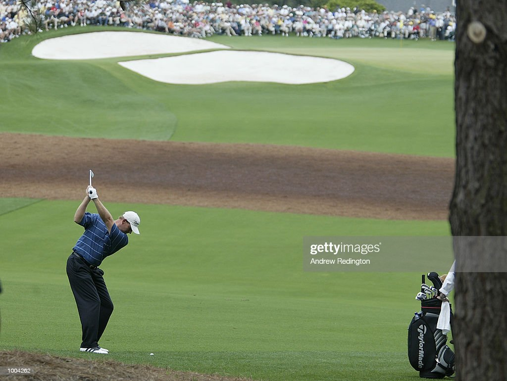 Ernie Els of South Africa plays his second shot on the ninth hole during the third day of the Masters Tournament from the Augusta National Golf Club in Augusta, Georgia. DIGITAL IMAGE. EDITORIAL USE ONLY Mandatory Credit: Andrew Redington/Getty Images