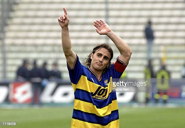 Fabio Cannavaro the captain of Parma celebrates after Parma's victory after the Serie A 30th Round League match played between Parma and Udinese...