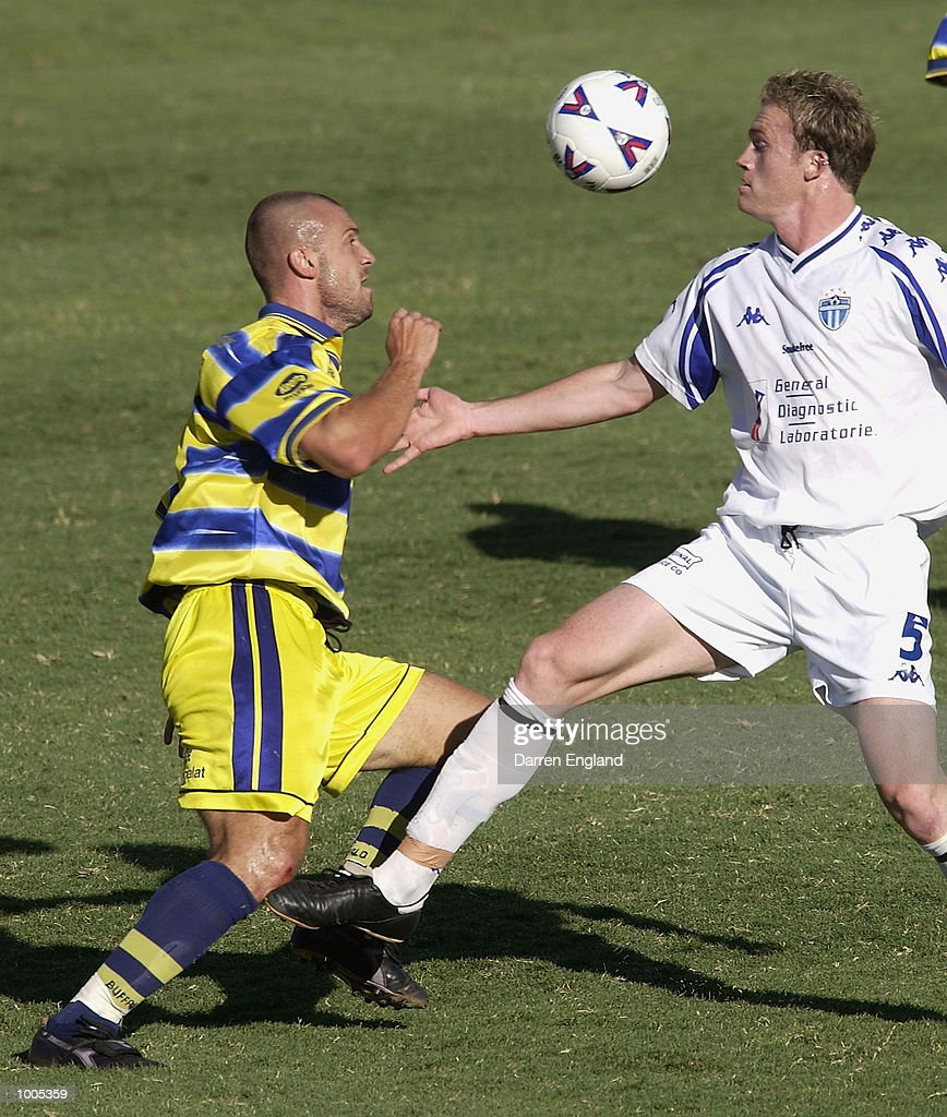Fernando Rech #7 of Brisbane in action against Robert Liparoti #5 of South Melbourne during the NSL second leg of the Elimination Final series played between the Brisbane Strikers and South Melbourne played at Ballymore in Brisbane, Australia. DIGITAL IMAGE. Mandatory Credit: Darren England/Getty Images