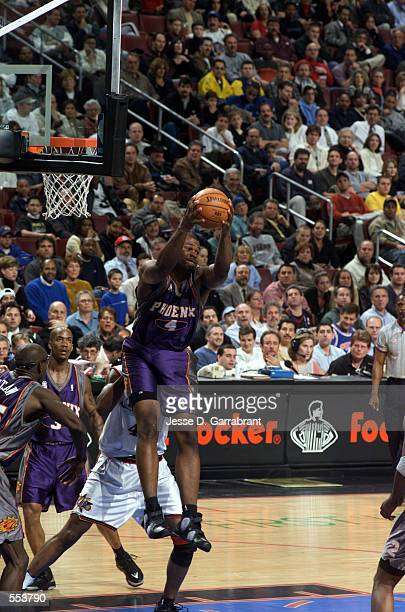 Forward Alton Ford of the Phoenix Suns grabs a rebound during the NBA game against the Philadelphia 76ers at First Union Center in Philadelphia...