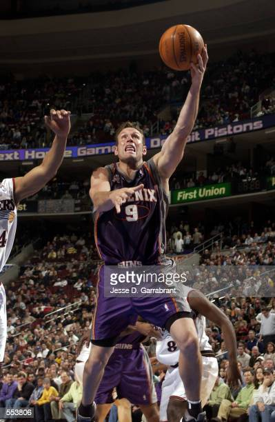 Forward Dan Majerle of the Phoenix Suns shoots a layup during the NBA game against the Philadelphia 76ers at First Union Center in Philadelphia...