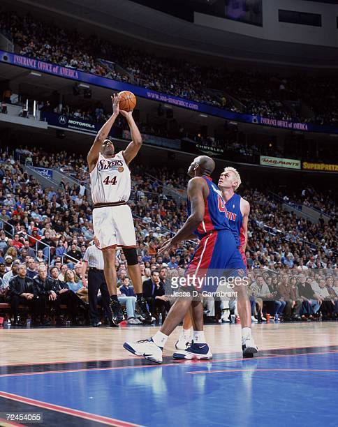 Forward Derrick Coleman of the Philadelphia 76ers shoots the ball during the NBA game against the Detroit Pistons at the First Union Center in...