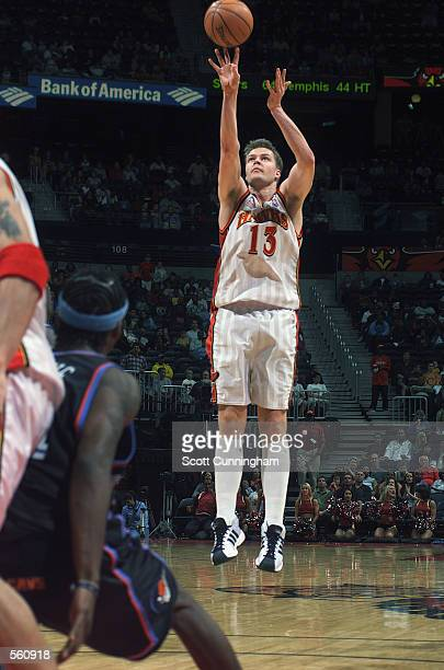 Forward Hanno Mottola of the Atlanta Hawks shoots a jump shot during the NBA game against the Cleveland Cavaliers at Philips Arena in Atlanta Georgia...