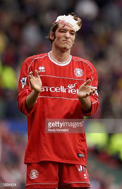 Franck Queudrue of Middlesbrough leaves the field after the AXA FA Cup Semi Final between Arsenal and Middlesbrough at Old Trafford Manchester...
