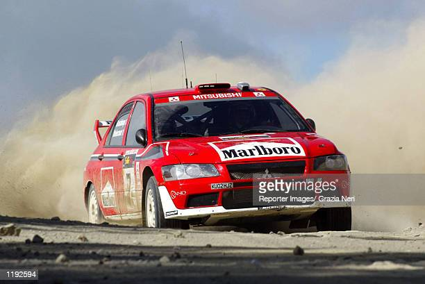Francois Delecour of France drives his Marlboro Mitsubishi Ralliart during the second day of the Rally of Cyprus a part of the World Rally...