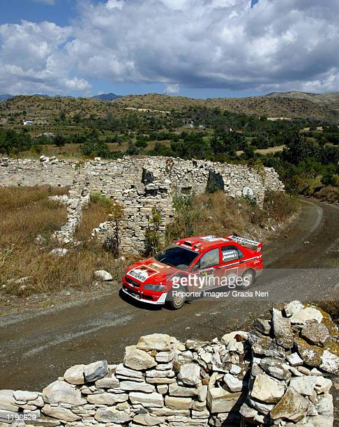 Francois Delecour of France drives his Mitsubishi Lancer Evo WRC during the final stage of the Rally of Cyprus the fourth stage of the World Rally...