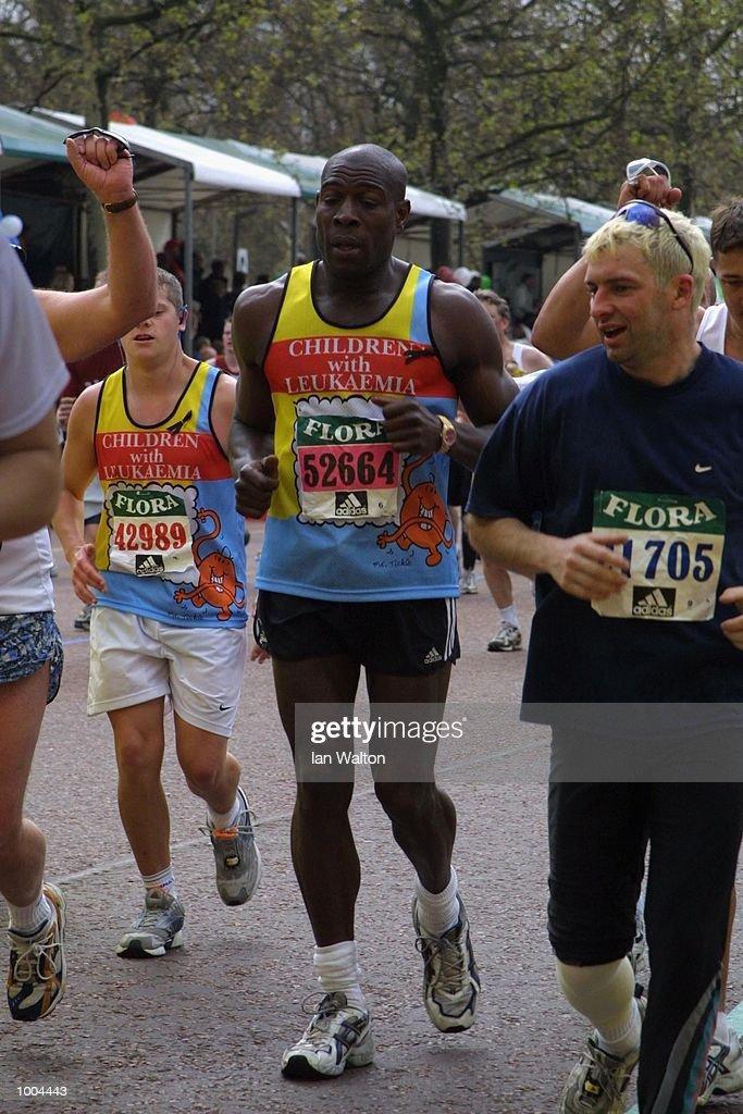 Frank Bruno crosses the finish line during Flora London Marathon in London. DIGITAL IMAGE Mandatory Credit: Ian Walton/Getty Images