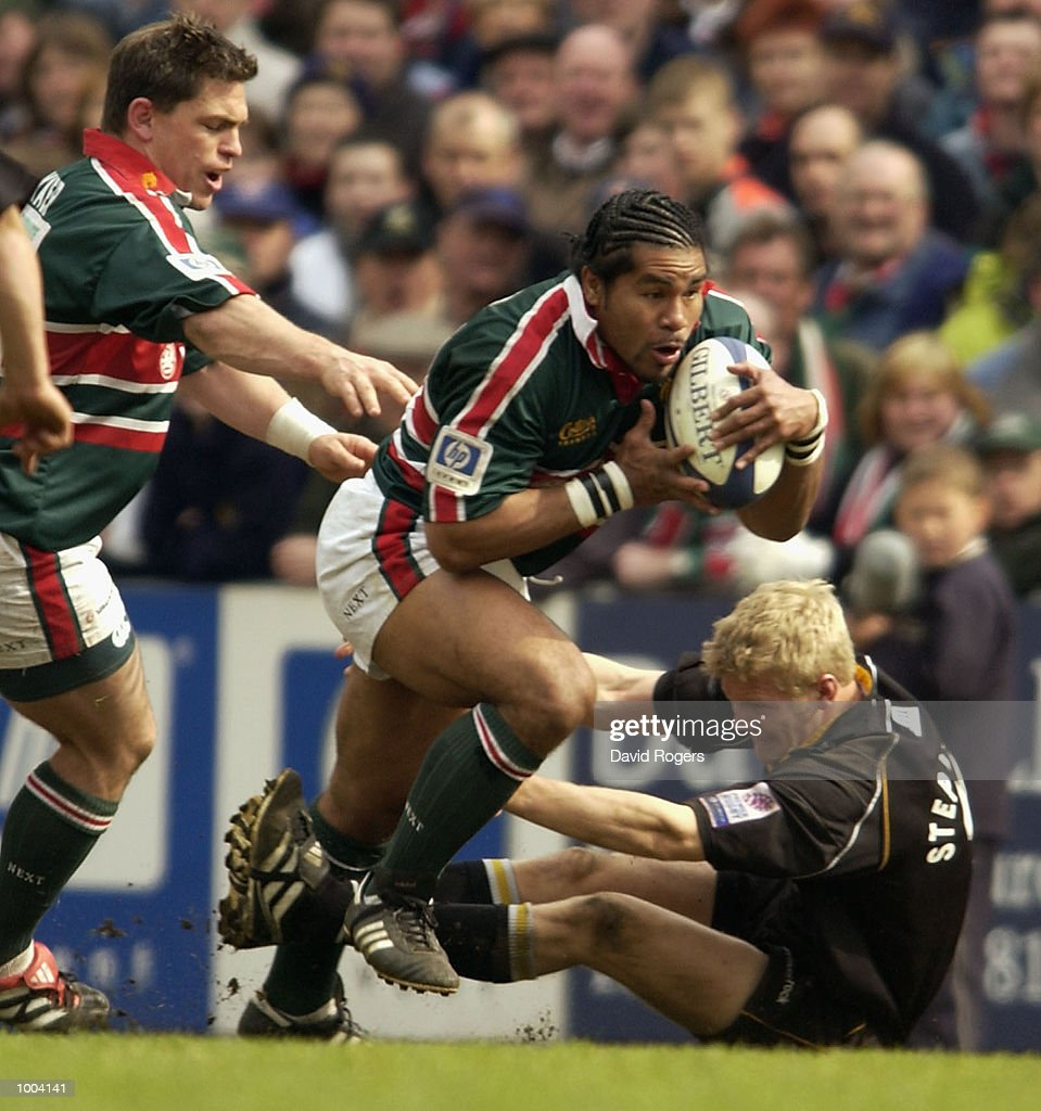 Freddie Tuilagi of Leicester takes on Michael Stephenson of Newcastle during the Zurich Premiership match between Leicester Tigers and Newcastle Falcons at Welford Road, Leicester. DIGITAL IMAGE Mandatory Credit: Dave Rogers/Getty Images