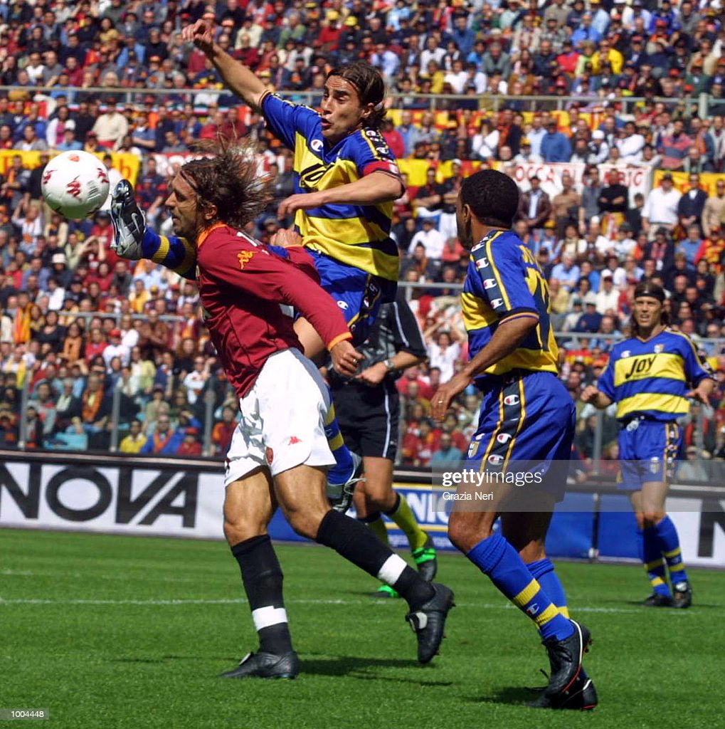 Gabriel Batistuta of Roma and Fabio Cannavaro of Parma in action during the Serie A match between Roma and Parma, played at the Olympic Stadium, Roma. DIGITAL IMAGE Mandatory Credit: Grazia Neri/Getty Images