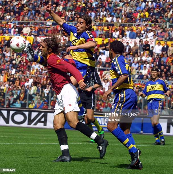 Gabriel Batistuta of Roma and Fabio Cannavaro of Parma in action during the Serie A match between Roma and Parma played at the Olympic Stadium Roma...