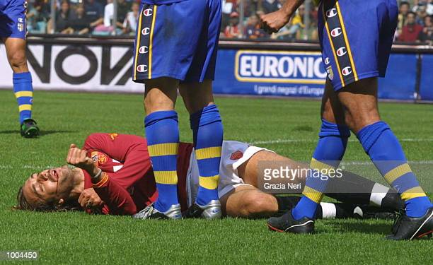 Gabriel Batistuta of Roma lies injured during the Serie A match between Roma and Parma played at the Olympic Stadium Roma DIGITAL IMAGE Mandatory...