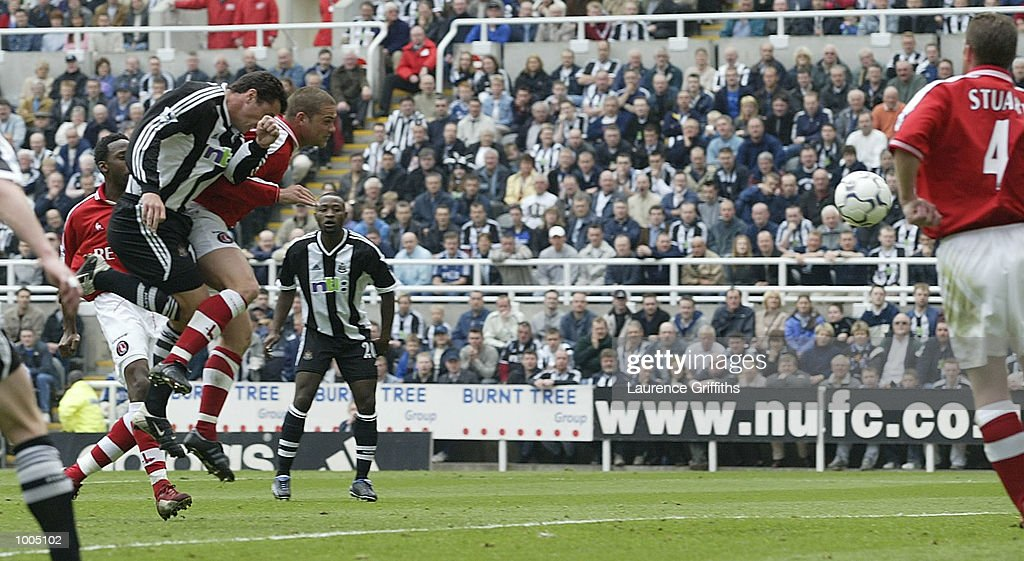 Gary Speed of Newcastle scores during the Newcastle United v Charlton Athletic FA Barclaycard Premiership match at St James Park, Newcastle. DIGITAL IMAGE Mandatory Credit: Laurence Griffiths/Getty Images