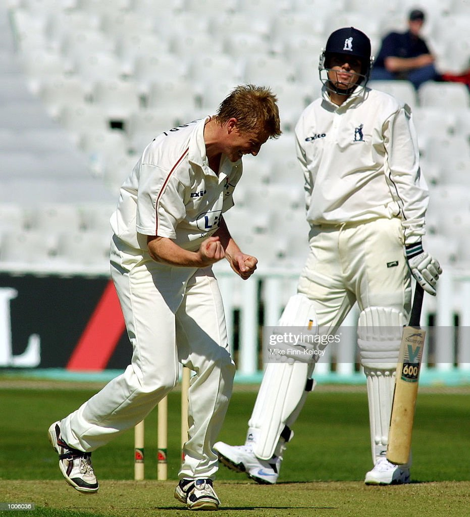 Glen Chapple of Lancashire celebrates after dismissing Shaun Pollock of Warwickshire during the Frizzell County Championship match between Warwickshire and Lancashire at Edgbaston, Birmingham. DIGITAL IMAGE Mandatory Credit: Mike Finn Kelcey/Getty Images