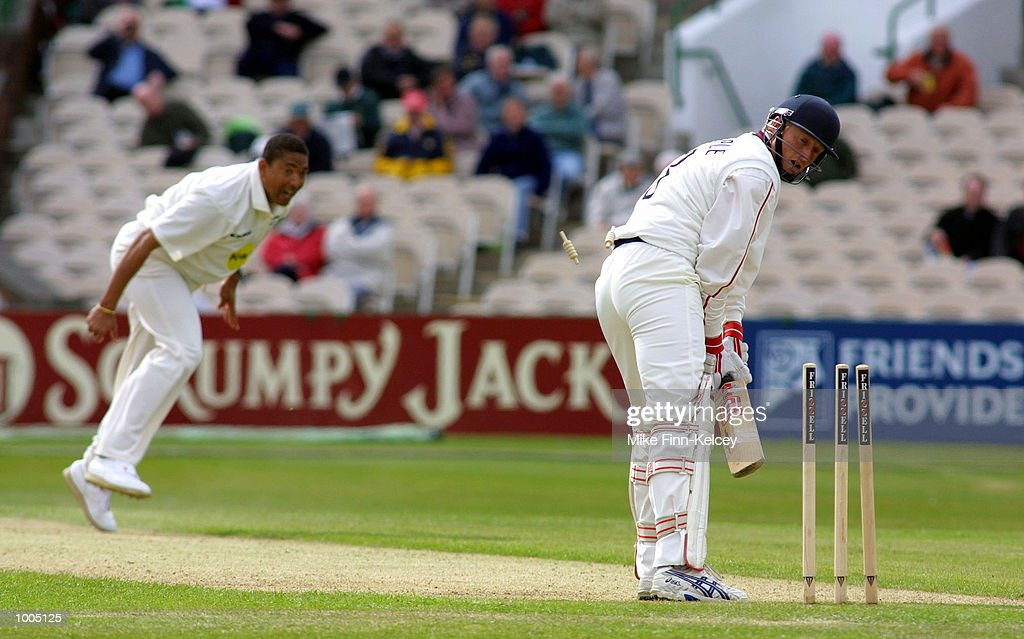 Glen Chapple of Lancashire is bowled by Phil De Freitas of Leicestershire for 15 during the Frizzell County Championship match between Lancashire ans Leicestershire at Old Trafford, Manchester. DIGITAL IMAGE Mandatory Credit: Mike Finn Kelcey/Getty Images