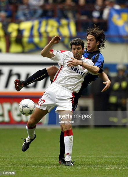 Gonzalo Sorondo of Inter Milan and Dario Hubner of Piacenza in action during the Serie A match between Inter Milan and Piacenza played at the...