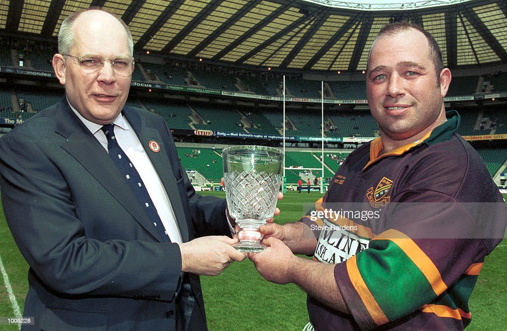 Graeme Cattermole with Heath captain David Harrison after the Powergen Junior Vase Final between Heath and Bromley at Twickenham, London. DIGITAL IMAGE. Mandatory Credit: Steve Bardens/Getty Images