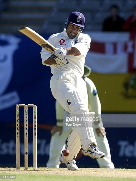 Graham Thorpe of England hits out during the 4th day of the New Zealand v England 3rd Test Match at Eden Park Auckland New Zealand DIGITAL IMAGE...